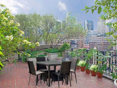 a small garden on a  large balcony  in manhattan