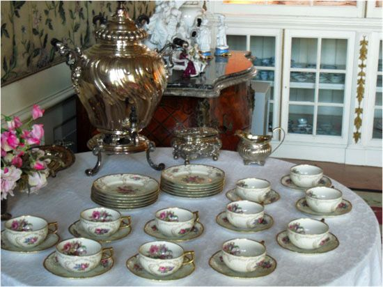 collection of china and silverware in a castle in the netherlands
