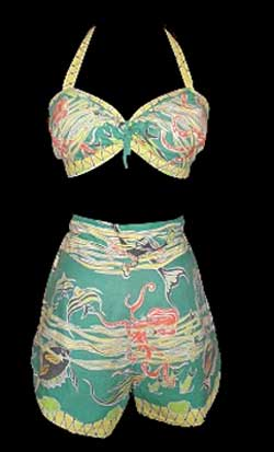 Octopus - Early 1950s Cotton Two Piece Bathing suit