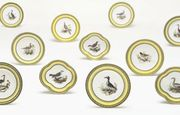 SEVRES YELLOW-GROUND ORNITHOLOGICAL PART DESSERT-SERVICE