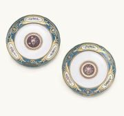 TWO SEVRES BLEU CELESTE-GROUND PLATES FROM TH