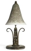 Etched Glass and Wrought-Iron Table Lamp