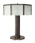 Wrought-Iron and Glass Art-Deco Table Lamp