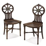 Pair of George III Mahogany Hall Chairs