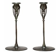 Pair of Bronze Candlesticks by Tiffany Studio