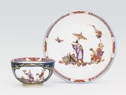 MEISSEN BLUE-GROUND CHINOISERIE TEABOWL AND S