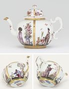 A MEISSEN (KPM) RIBBED GLOBULAR TEAPOT AND CO