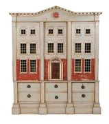 George II style linen press modelled as a doll's house