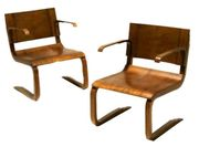 Pair of Italian chairs in laminated wood, 1933