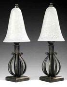 A pair of lamps, Edgar Brandt & Daum