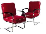 American Chromed Metal Armchairs, 1940's