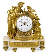 Directoire gilt bronze and marble mantel clock