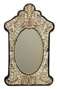 French Carved Bone Mirror