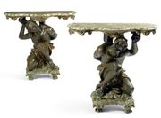 AN UNUSUAL AND RARE PAIR OF ITALIAN PAINTED, LACCA A MECCA AND FAUX MARBRE CONSO