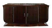 A French Art Deco ebony macassar and marble sideboard