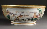 A CHINESE EXPORT MONOGRAMMED HUNTING PUNCH BOWL