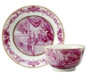 CHINESE EXPORT 'PEEPING TOM' TEABOWL AND SAUCER