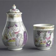A CHINESE EXPORT PEAR-SHAPED MILK JUG, A COVER AND A COFFEE CUP