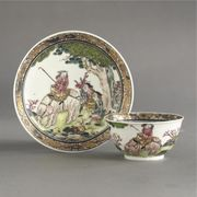 A CHINESE EXPORT TEABOWL AND SAUCER