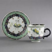 A CHINESE EXPORT COFFEE CUP AND SAUCER