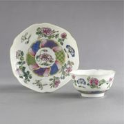 CHINESE EXPORT FAMILLE-ROSE HEXAFOIL TEABOWL AND SAUCER