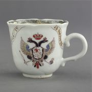 CHINESE EXPORT ARMORIAL PETAL-MOLDED COFFEE CUP