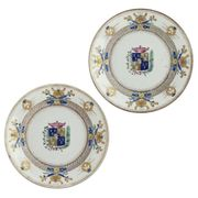 A PAIR OF CHINESE EXPORT ARMORIAL PLATES