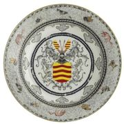 A CHINESE EXPORT ARMORIAL EGGSHELL SOUP PLATE