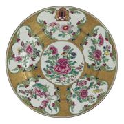 A CHINESE EXPORT ARMORIAL RUBY-BACK PLATE