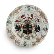 A CHINESE EXPORT ARMORIAL LARGE PLATE