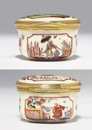 DOCCIA GOLD-MOUNTED OVAL CHINOISERIE SNUFF-BOX AND COVER