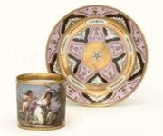 A VIENNA (SORGENTHAL) PINK-GROUND CABINET-CUP AND SAUCER