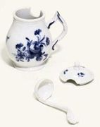 FULDA BLUE AND WHITE BALUSTER MUSTARD POT, COVER AND LADLE