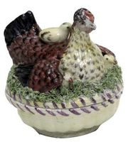 A GERA CIRCULAR HEN AND CHICKENS TUREEN AND COVER