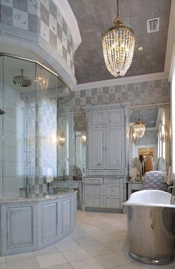 A renovated bath room in a historic house.