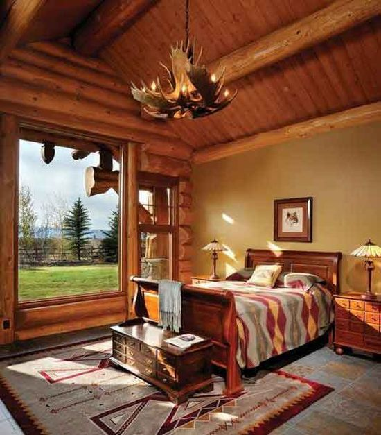 A bedroom in a mountain ranch