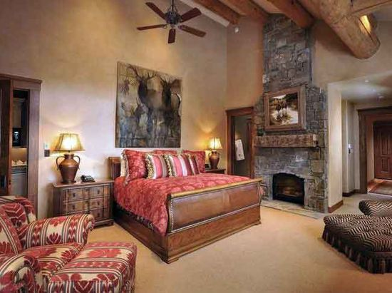 Bedroom in a mountain ranch