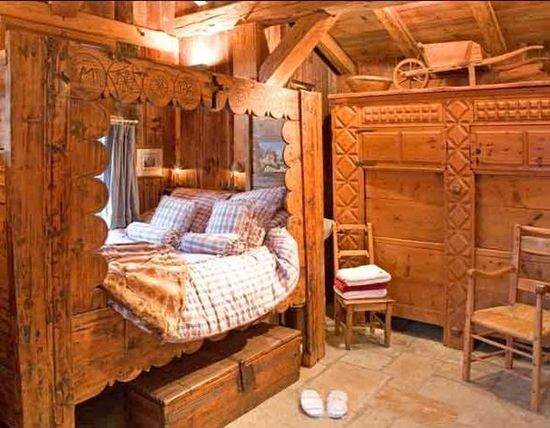A bed room in the Chamonix valley, France