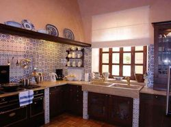 A blue kitchen in Spain