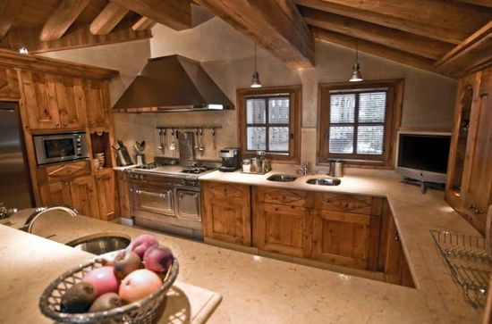 A kitchen in a chalet in the Alps