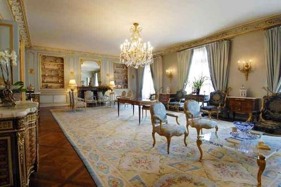 Sprawling neoclassical French living room