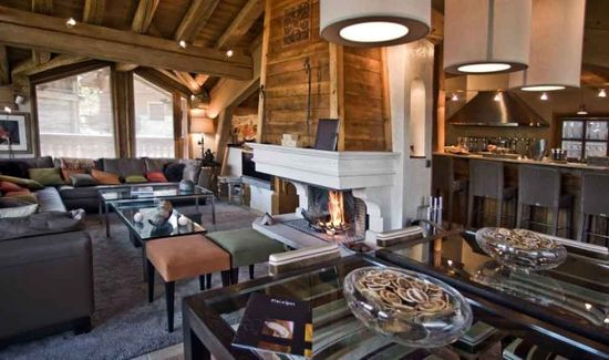 A living room in a Luxury chalet at Courchevel, France